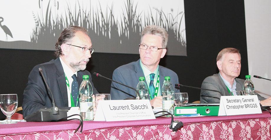 Laurent Sacchi, Vice President Chairman, Danone, Christopher Briggs, Secretary General of the Ramsar Convention, and Bernard Giraud, Livelihoods Fund